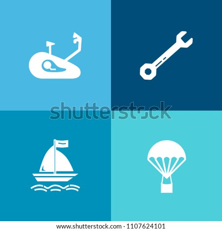 Modern, simple vector icon set on colorful background with wave, healthy, parachute, skydiver, water, tool, fly, extreme, high, skydiving, metal, wind, repair, wheel, race, flight, work, road icons