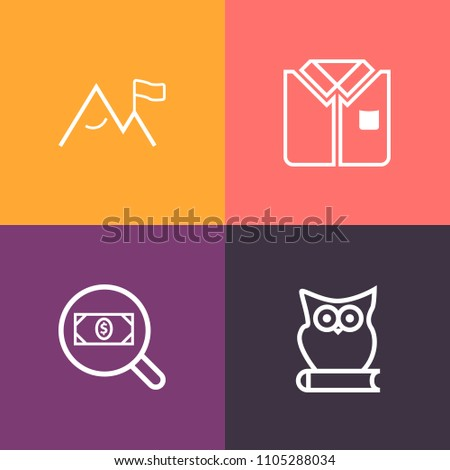 Stock Photo Modern, simple vector icon set on colorful background with white, sleeve, tshirt, cute, animal, shape, template, rock, find, fashion, element, clothing, adventure, button, fresh, textile, cotton icons