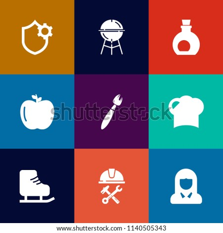 Stock Photo Modern, simple vector icon set on colorful flat backgrounds with fire, fresh, business, cold, settings, green, phone, apple, grilling, computer, grilled, sport, grill, girl, olive, construction icons