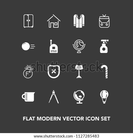 Modern, simple vector icon set on dark background with instrument, musical, map, glass, world, cabinet, fahrenheit, temperature, home, coat, planet, global, safety, building, estate, thermometer icons