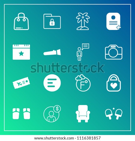 Modern, simple vector icon set on gradient background with account, security, flight, paper, lock, retail, object, accounting, sale, footwear, nature, folder, chair, palm, fahrenheit, menu, flip icons