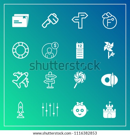 Modern, simple vector icon set on gradient background with cooking, direction, way, temperature, hammer, equality, toy, plane, tool, document, fahrenheit, sand, paper, child, flight, sign, scale icons