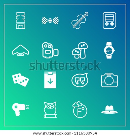 Modern, simple vector icon set on gradient background with cooler, owl, music, gambling, equipment, button, tie, fahrenheit, bird, cold, drink, download, handle, white, hat, animal, cowboy, film icons