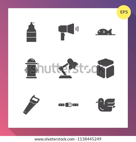 Stock Photo Modern, simple vector icon set on gradient background with cube, table, belt, light, construction, communication, emergency, pizza, animal, art, equipment, furniture, bird, wildlife, lamp, water icons