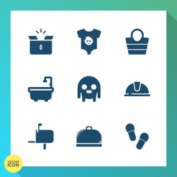Modern, simple vector icon set on gradient background with cute, mail, post, package, helmet, safety, ufo, fiction, leather, sign, service, hat, style, newborn, work, alien, container, baby, boy icons