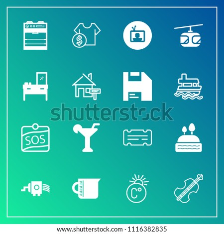 Modern, simple vector icon set on gradient background with dessert, sky, label, liquid, equipment, fahrenheit, kitchen, grater, screen, temperature, sweet, thermometer, transportation, drink, tv icons