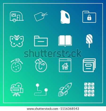 Modern, simple vector icon set on gradient background with fahrenheit, real, tag, movie, retro, van, planet, sweet, lock, transport, camera, book, launch, shuttle, point, safety, space, scale icons