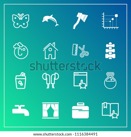 Modern, simple vector icon set on gradient background with fly, business, internet, laboratory, glass, headset, medicine, click, website, animal, book, crane, fahrenheit, home, open, equipment icons