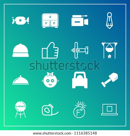 Modern, simple vector icon set on gradient background with food, internet, video, fashion, equipment, grill, temperature, male, microphone, suit, scale, cute, shovel, fahrenheit, sign, business icons