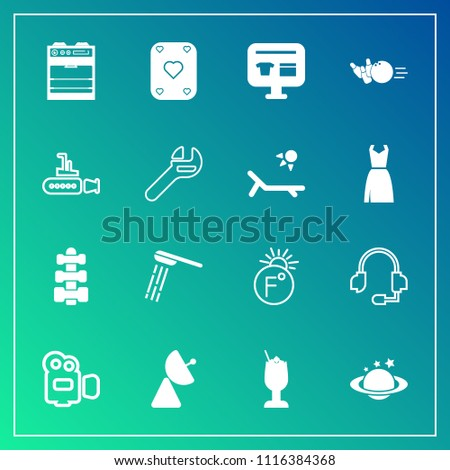 Modern, simple vector icon set on gradient background with globe, sale, radio, fun, fahrenheit, hygiene, antenna, oven, signal, cocktail, scale, equipment, thermometer, play, camera, handle, bar icons