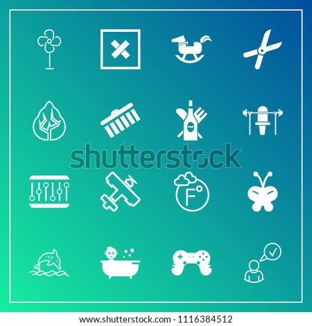 Modern, simple vector icon set on gradient background with horse, white, ocean, cooler, toy, flight, concept, fahrenheit, online, animal, scale, plane, ventilator, beauty, sign, baby, profile icons