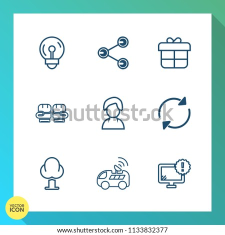 Modern, simple vector icon set on gradient background with internet, media, refresh, monitor, fight, holiday, electricity, light, idea, navigation, present, landscape, sport, lamp, element, box icons #1133832377