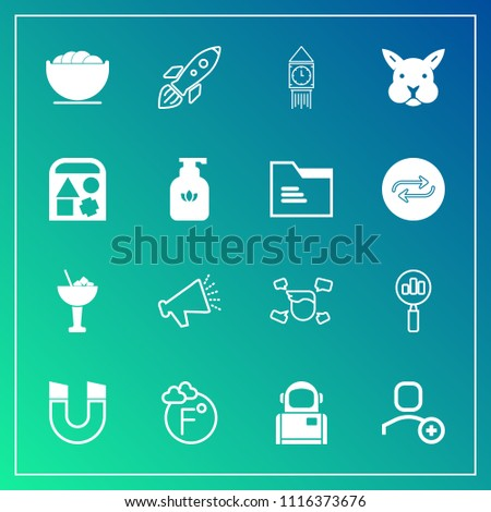 Modern, simple vector icon set on gradient background with magnetic, male, user, loud, dish, thermometer, london, fahrenheit, space, speaker, man, bunny, loudspeaker, food, bowl, magnifying, boy icons