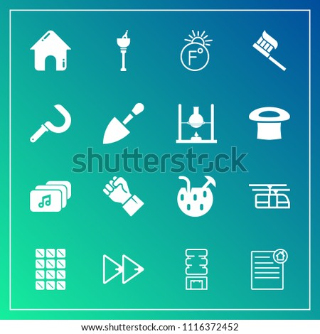 Modern, simple vector icon set on gradient background with music, cocktail, cooler, real, business, audio, sweet, rewind, train, dessert, drink, house, rail, human, alcohol, player, fahrenheit icons