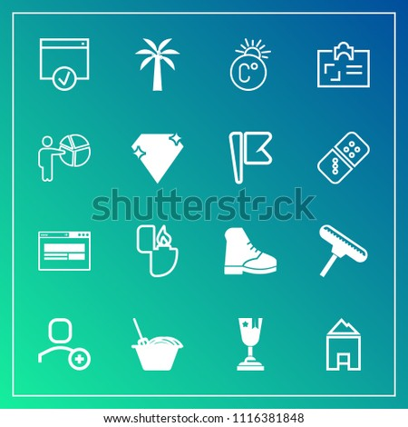 Modern, simple vector icon set on gradient background with object, presentation, identity, sign, brush, fahrenheit, noodle, card, businessman, scale, cigarette, jewel, personal, award, winner icons