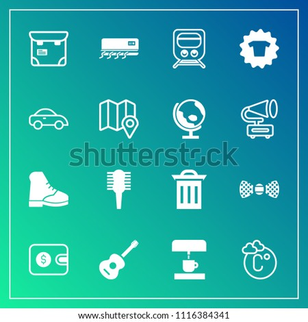 Modern, simple vector icon set on gradient background with recycle, transportation, garbage, kitchen, fashion, tie, air, cash, white, phone, music, temperature, fahrenheit, machine, bow, people icons
