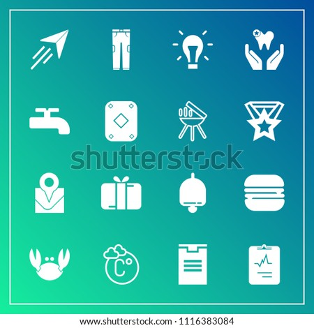 Modern, simple vector icon set on gradient background with ring, sandwich, bulb, seafood, map, fahrenheit, box, temperature, food, idea, package, snack, pants, cardiology, dentist, electricity icons