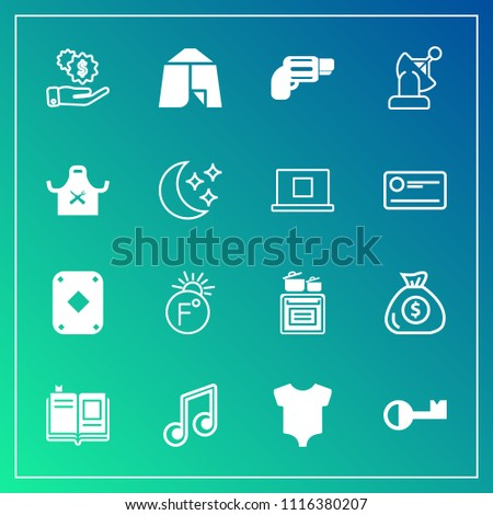 Modern, simple vector icon set on gradient background with scale, cooking, literature, adventure, business, key, fahrenheit, play, camp, modern, satellite, outdoor, finance, tent, education, kid icons