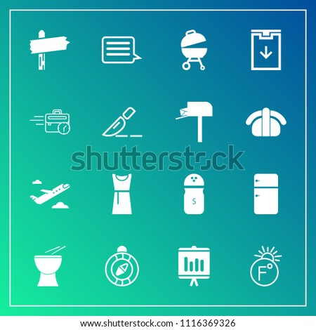 Modern, simple vector icon set on gradient background with temperature, message, fashion, seasoning, meat, music, pepper, fridge, fahrenheit, sign, surgery, barbecue, travel, percussion, sitting icons