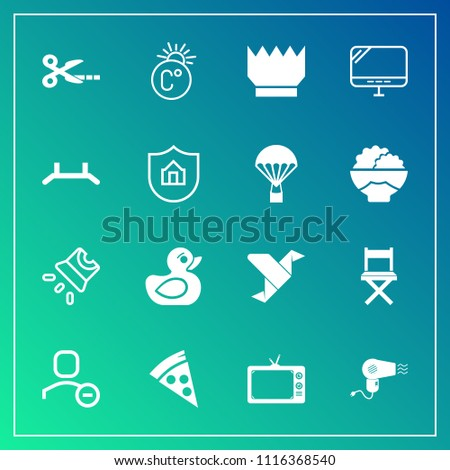 Modern, simple vector icon set on gradient background with toy, projector, computer, thermometer, paper, movie, cut, video, origami, seat, royal, up, dryer, television, tool, account, fahrenheit icons
