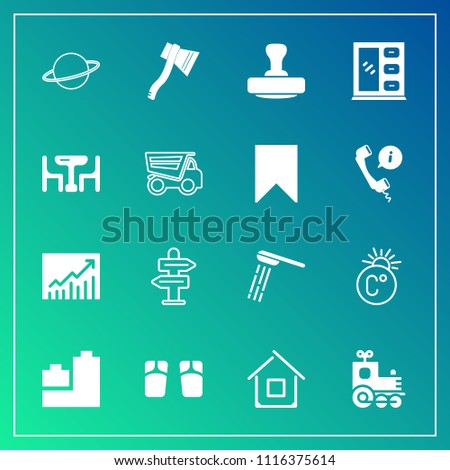 Modern, simple vector icon set on gradient background with train, bear, transport, travel, business, home, planet, cabinet, furniture, fahrenheit, shower, architecture, hygiene, bath, estate icons
