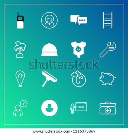 Modern, simple vector icon set on gradient background with woman, clock, girl, talk, emergency, pin, aid, young, scale, web, investment, speech, fahrenheit, paint, bank, hour, telephone, brush icons