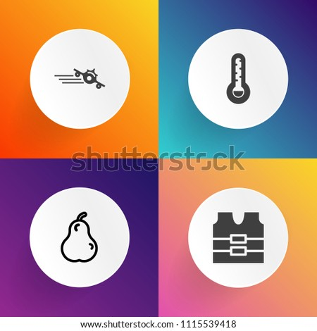 Modern, simple vector icon set on gradient backgrounds with aircraft, departure, fahrenheit, cold, sweet, industry, vest, uniform, airport, sign, green, transport, business, equipment, organic icons