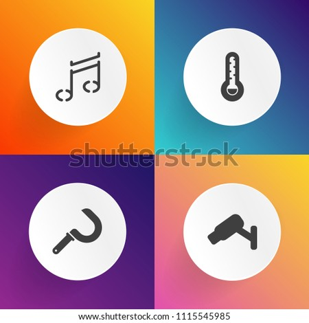 Modern, simple vector icon set on gradient backgrounds with cctv, melody, farming, heat, tool, silhouette, private, key, protection, fahrenheit, harvest, surveillance, black, rural, wheat, cold icons