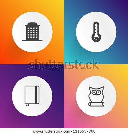 Modern, simple vector icon set on gradient backgrounds with fun, bird, white, real, cute, wildlife, meteorology, wing, city, temperature, owl, weather, fahrenheit, urban, note, hotel, structure icons