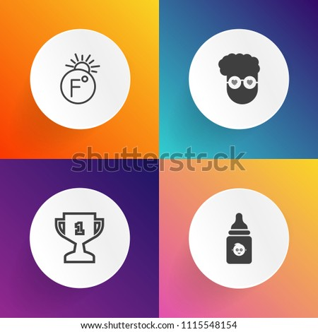 Modern, simple vector icon set on gradient backgrounds with measurement, sport, fashion, white, child, nutrition, kid, weather, champion, vintage, first, art, competition, fahrenheit, liquid icons