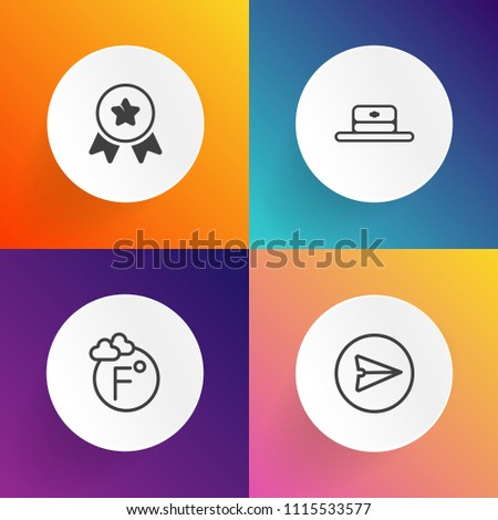 Modern, simple vector icon set on gradient backgrounds with meteorology, climate, success, white, winner, number, weather, temperature, fahrenheit, award, phone, style, degree, fashion, internet icons