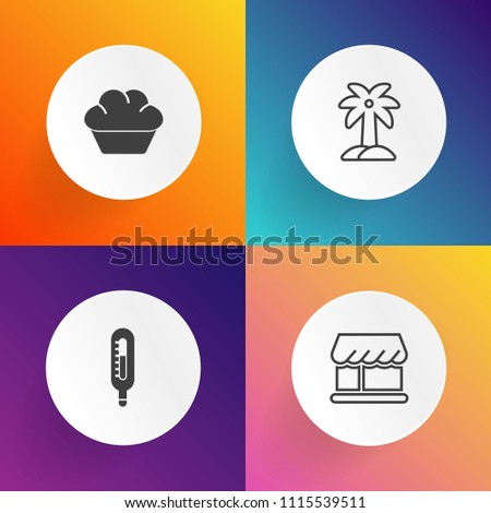 Modern, simple vector icon set on gradient backgrounds with muffin, plant, tree, natural, breakfast, doughnut, front, coconut, shop, fahrenheit, curtain, decoration, modern, bakery, celsius, hot icons