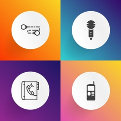 Modern, simple vector icon set on gradient backgrounds with record, studio, information, sound, contact, business, display, song, vintage, entertainment, chain, communication, singer, musical icons