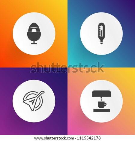 Modern, simple vector icon set on gradient backgrounds with season, celsius, latte, drink, culture, espresso, household, color, sign, fahrenheit, traditional, colorful, celebration, melody, play icons