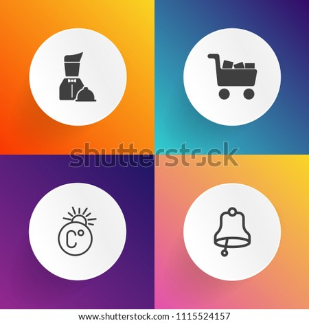 Modern, simple vector icon set on gradient backgrounds with service, dish, shop, sign, food, thermometer, black, celsius, tray, fahrenheit, object, restaurant, sale, white, number, season, buy icons