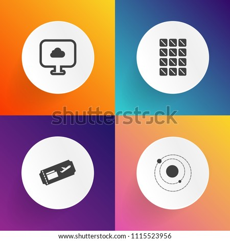 Modern, simple vector icon set on gradient backgrounds with snack, sign, web, bar, delicious, cloud, chocolate, technology, business, brown, planet, dark, astronomy, weather, solar, white, sweet icons