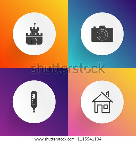 Modern, simple vector icon set on gradient backgrounds with summer, fahrenheit, celsius, digital, cold, door, play, building, photography, meteorology, vacation, residential, shovel, camera, hot icons