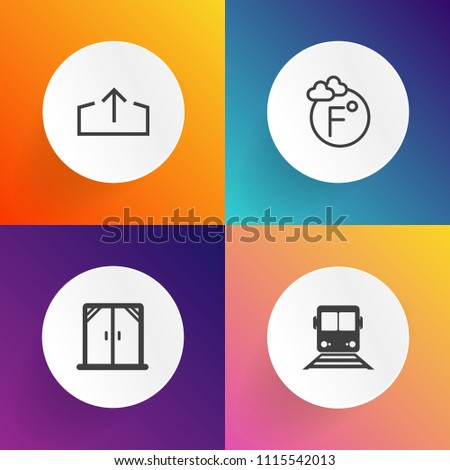 Modern, simple vector icon set on gradient backgrounds with white, subway, download, light, arrow, home, temperature, season, fahrenheit, graphic, decoration, measurement, upload, meteorology icons