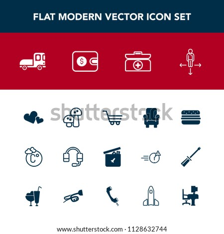 Modern, simple vector icon set with armchair, kit, play, scale, food, love, hamburger, bear, call, temperature, cart, transportation, fahrenheit, support, delivery, thermometer, mushroom, box icons #1128632744