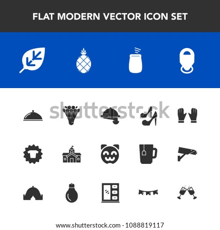 Modern, simple vector icon set with beauty, floral, restaurant, plant, sign, fresh, cat, pink, flower, architecture, location, shirt, animal, wine, pineapple, government, city, glove, percussion icons