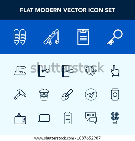 Stock Photo Modern, simple vector icon set with box, cafe, exit, touch, housework, delivery, button, coffee, key, star, , sign, door, clothes, package, domestic, moon, beacon, shovel, chat, travel, fish icons