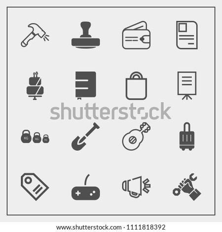 Modern, simple vector icon set with cash, airport, luggage, voice, dessert, card, kilogram, tool, loud, weight, purse, personal, construction, play, loudspeaker, guitar, musical, industry, sound icons