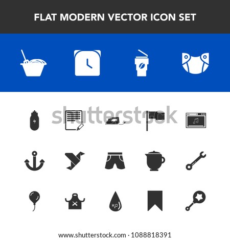 Modern, simple vector icon set with edit, document, origami, marine, watch, child, white, coffee, noodle, rattle, electric, diaper, clock, paper, cup, iron, drink, baby, online, hour, wear, food icons