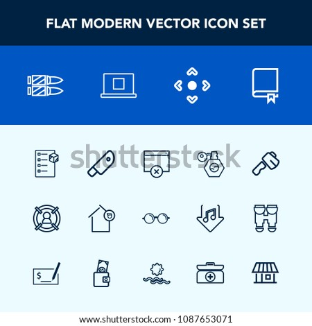 Modern, simple vector icon set with landlord, optical, axe, library, arrow, concept, education, cargo, horizontal, weapon, construction, study, eye, screwdriver, home, kitchen, marketing, food icons #1087653071