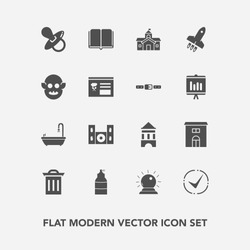 Modern, simple vector icon set with magic, tower, education, toilet, estate, fiction, pacifier, trash, belt, spray, video, monster, sign, literature, box, paint, infant, launch, alien, baby, ufo icons