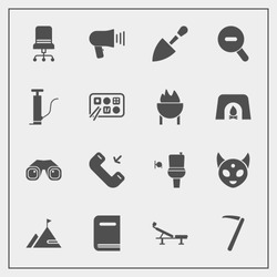 Modern, simple vector icon set with restaurant, construction, shovel, barbecue, alien, education, button, tool, chinese, communication, loudspeaker, sign, furniture, element, ufo, toilet, wrench icons