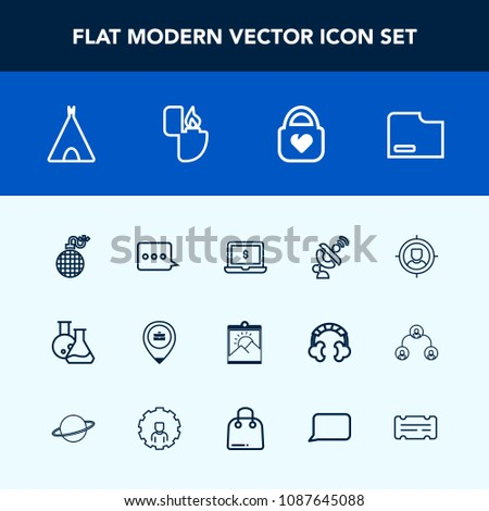Modern, simple vector icon set with sign, explosion, notebook, adventure, laptop, message, lighter, camp, object, target, fashion, screen, travel, frame, business, satellite, equipment, blank icons #1087645088