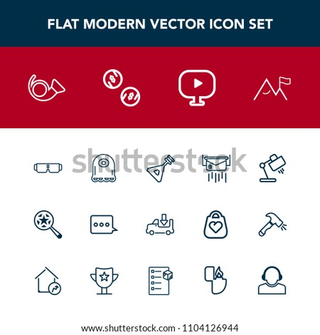 Modern, simple vector icon set with trumpet, post, instrument, bugle, sunglasses, folk, message, sign, lorry, mail, money, element, music, envelope, truck, cash, lamp, shipping, glasses, string icons