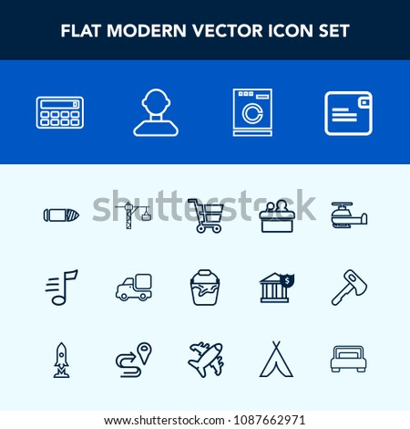 Modern, simple vector icon set with tune, conference, dollar, saw, transportation, appliance, button, washer, container, clean, hammer, truck, gun, laundry, shop, music, lorry, aviation, bullet icons #1087662971