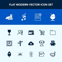 Modern, simple vector icon set with vehicle, cart, store, shop, car, market, alcohol, paper, music, sound, road, equipment, web, trolley, direction, banner, glass, blank, real, retail, machinery icons